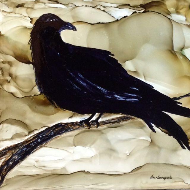 The Raven, Alcohol Ink On Ceramic Tile