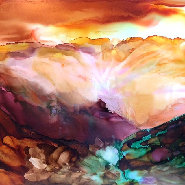 Abstract Landscape Alcohol Ink Painting; Ethereal; Inspirational Art; Art And Soul By The Lake