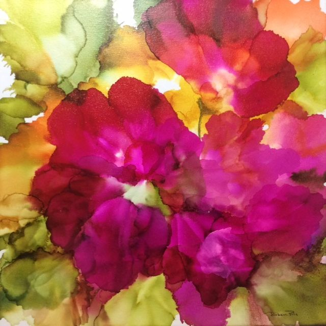 Abstract Floral, Alcohol Ink on Canvas