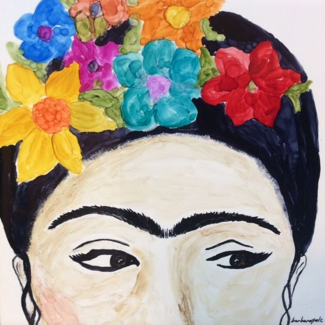 Frida, Alcohol Ink Painting, by Barbara Polc,  Art And Soul By The Lake