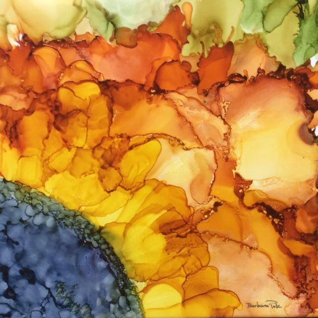 Alcohol Ink Abstract Sunflower on Ceramic Tile