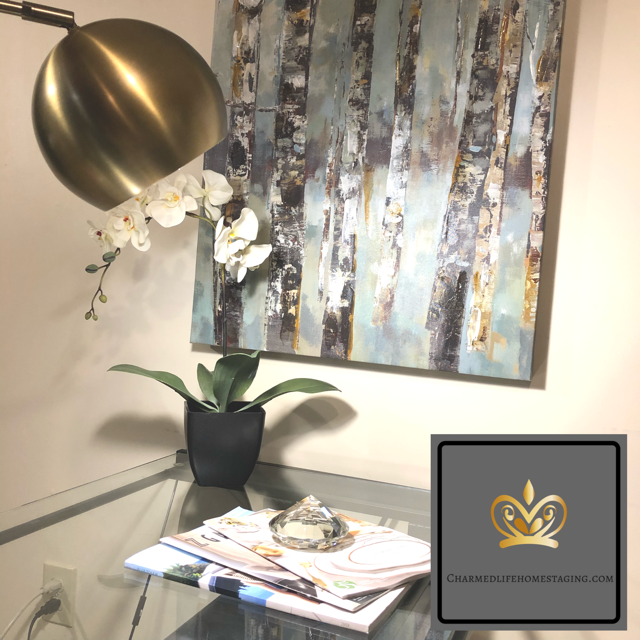 Office design gold glam orchids