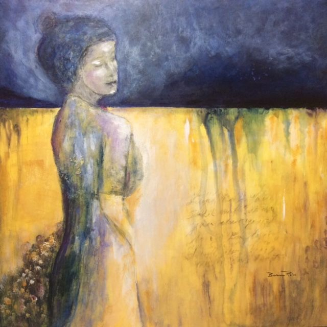 Mixed Media figurescape; acrylic painting; collage; by Art And Soul By The Lake