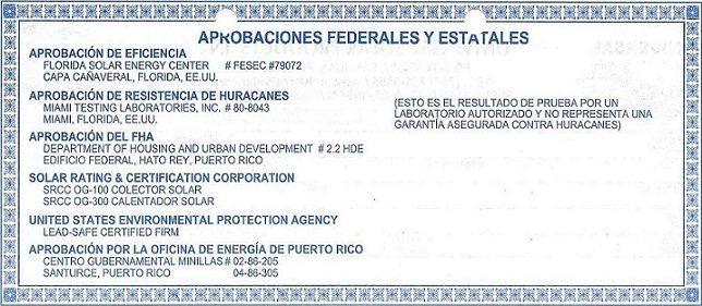 Solar heaters certifications, Puerto Rico