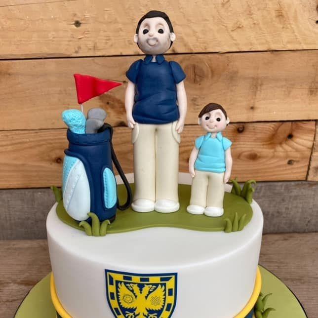 Gold Birthday Cake Son & Dad