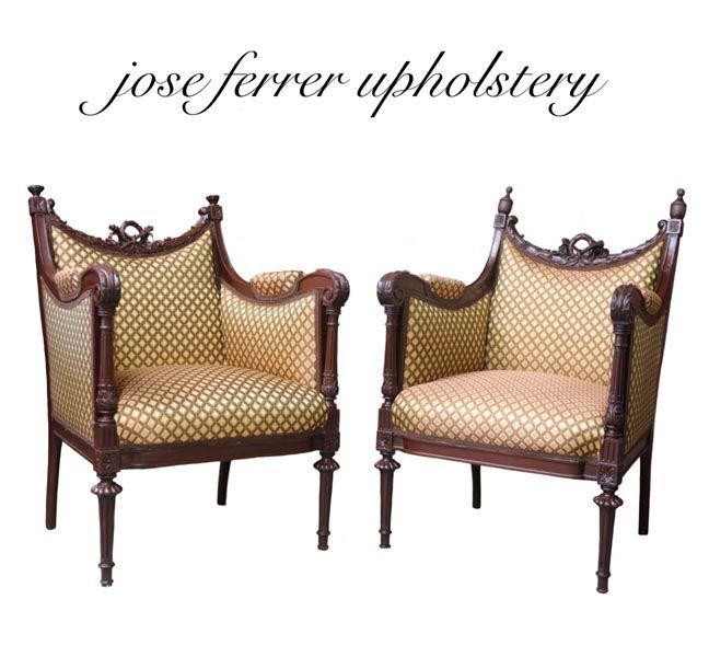 two antique chairs in diamond print