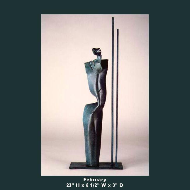 Barnett Sculpture Months Series February bronze