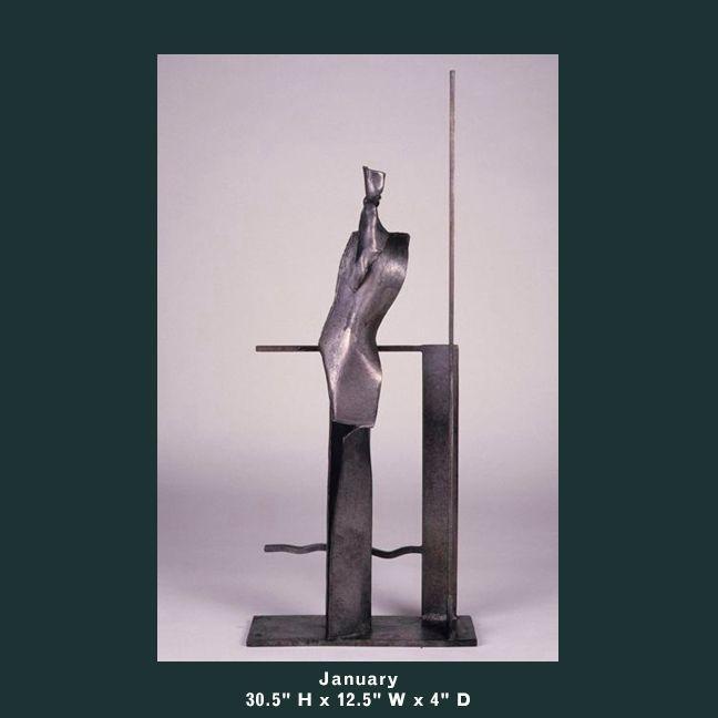 Barnett Sculpture Months Series January bronze