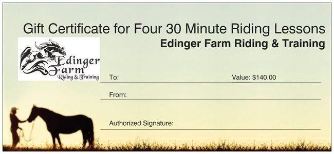 Gift Certificate Edinger Farm, Rehoboth MA