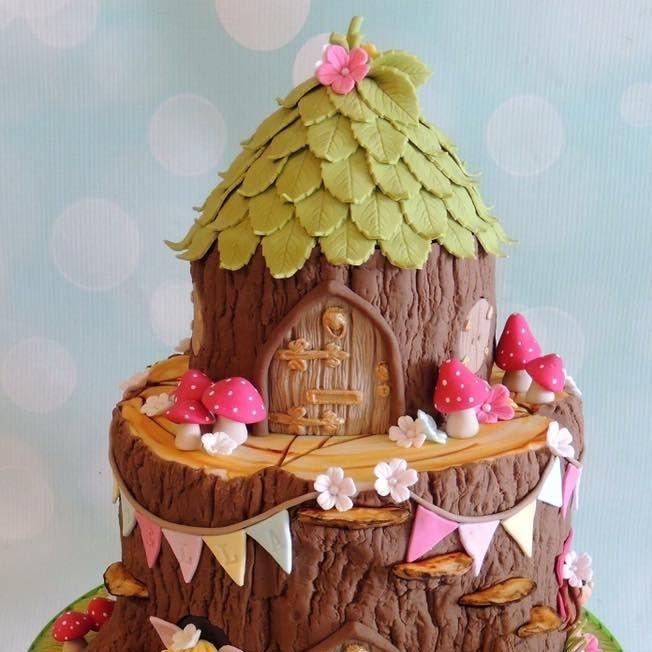 Fairy Tree Stump Garden Birthday Cake Toadstools Bunting Flower