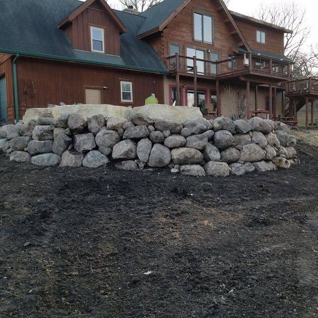 Landscape, stone patio, lawn care, iowa