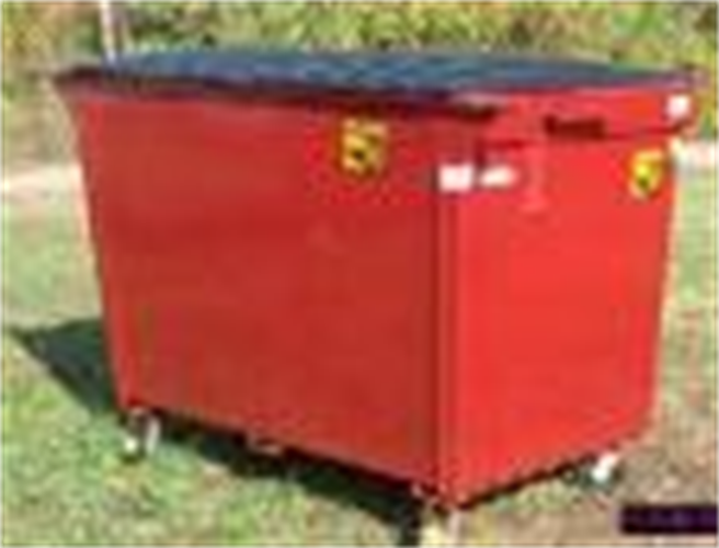 """2 Cubic Yard Container  Body made of 14 gauge steel. 12-gauge double top loading doors. Dimensions: 60""""L x 39""""W x 51""""H.  We make Front and Rear Load Containers as well."""