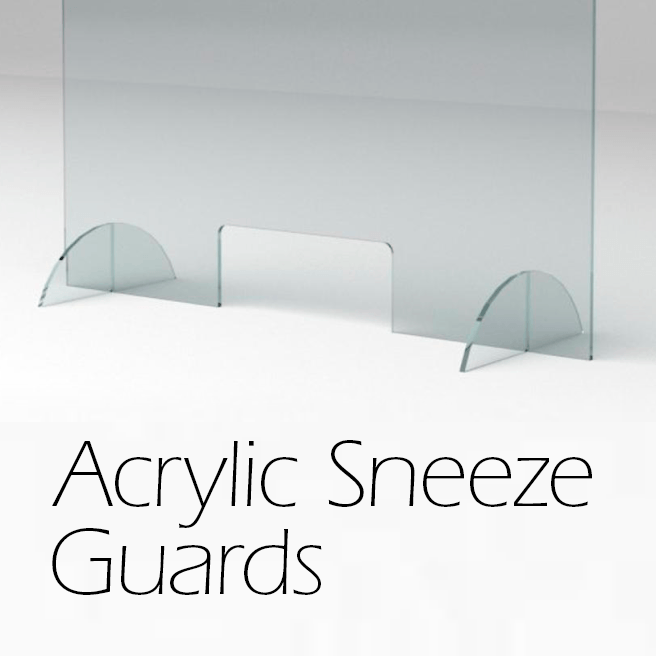 """7-Sizes, Sneeze Guard, Plastic Barrier, Free Standing 10"""" Feet Available, 6"""" x 8"""" Optional Opening, Stop the Spread, Covid-19, Corona Virus"""