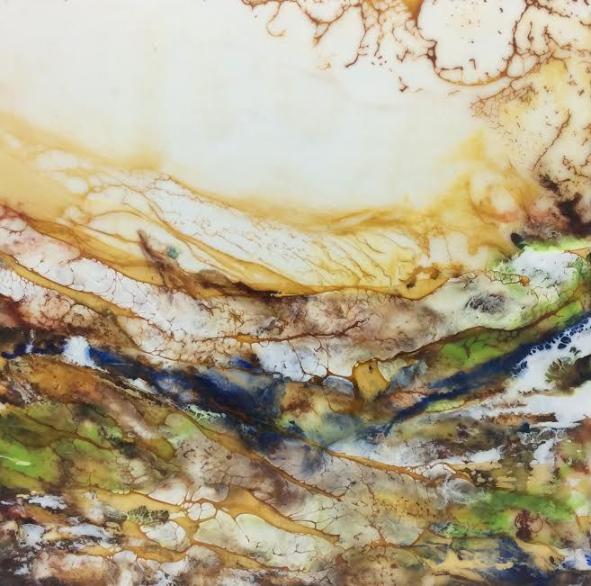 Landscape painting, beach painting, encaustic landscape, ethereal landscape, ethereal seascape, encaustic artist, inspirational art, abstract landscape painting