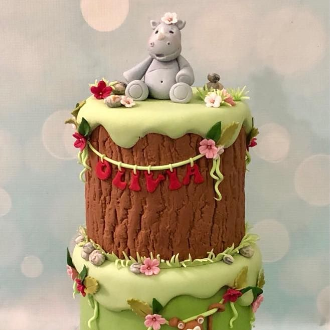 Zoo jungle cake panda lemur rhino monkey vines flowers pebbles