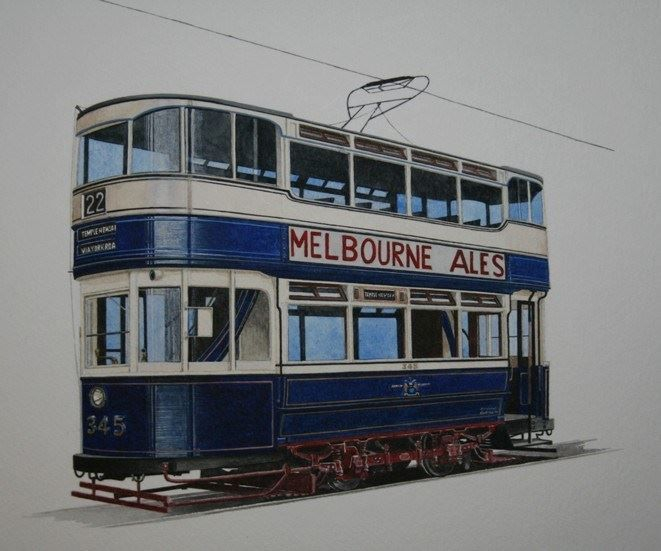 """Leeds 345 : One of the """"operational"""" cars at the Crich Tramway Village. COMMISSION - SOLD"""