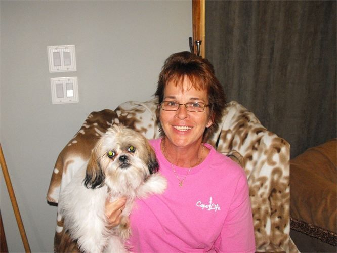 """KITTY FULLER WITH CRUISER """"Almost 19 months ago, we bought one of Roxanne's puppies. Cruiser was healthy and still is. He is spoiled rotten. Miss RoxC takes pride in her Shih Tzus!!"""" ........ Kitty Fuller 2-6-13"""