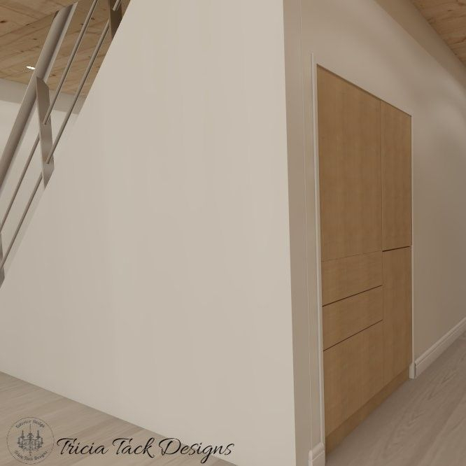 Scandinavian basement design, interior design, storage under the stairs