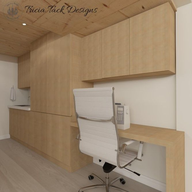 Scandinavian basement design, interior design, custom desk