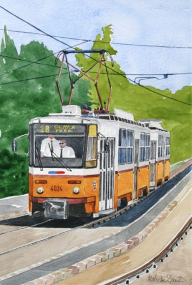 Budapest Tram - watercolour : Available to buy £45