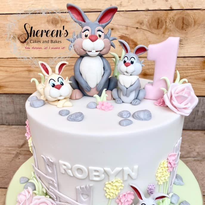 Thumper Birthday Cake bunny family pastel