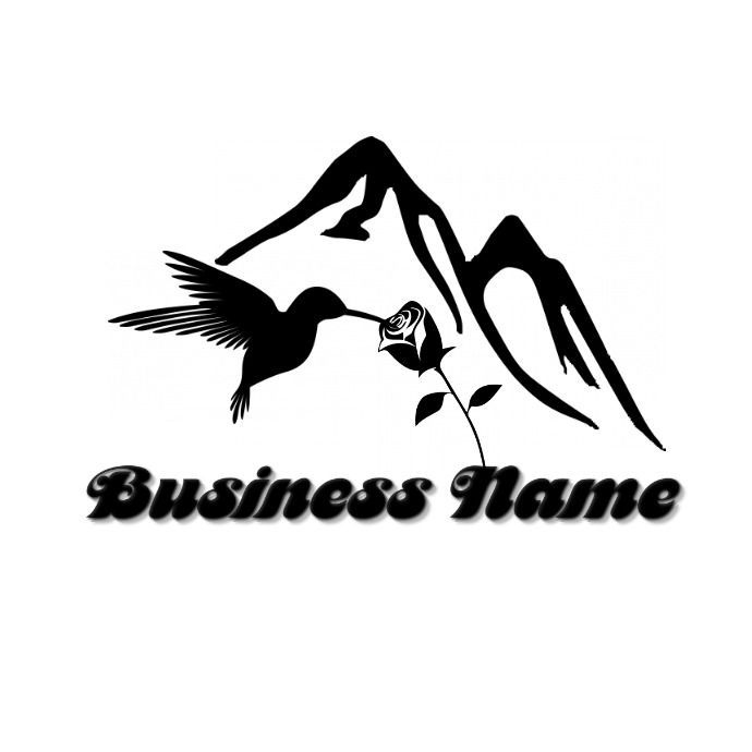 Mountain Range And Humming Bird Logo