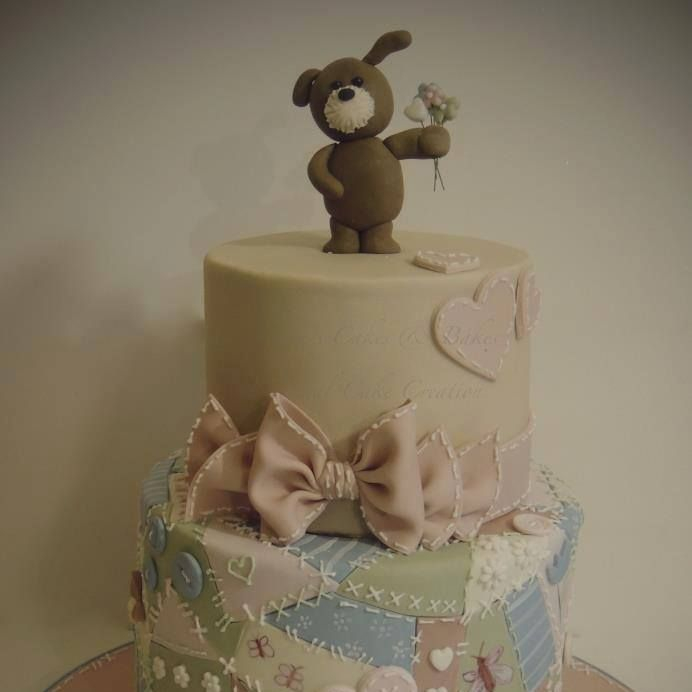 Patchwork Puppy Cake Birthday Bow Stitching