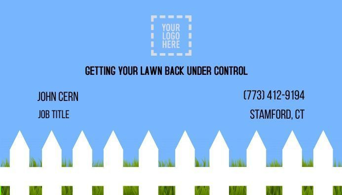 picket fence, lawn service business card, design template, editable design