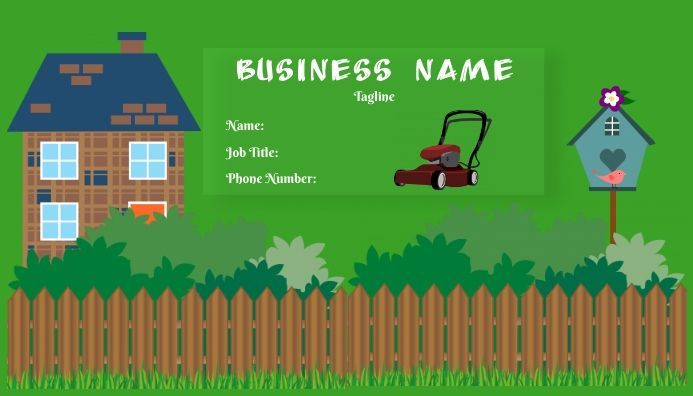 Lawn mowing business card template, editable business card