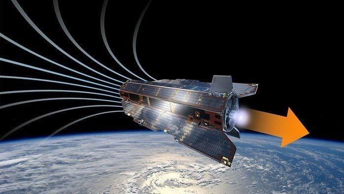 Concept-art montrant la façon dont le propulseur pourrait fonctionner sur les futurs satellites en orbite basse. Crédits : ESA