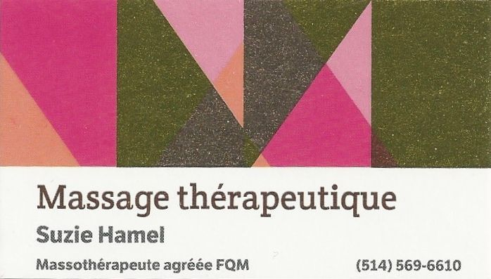 Carte d'affaires massage thérapeutique Suzie Hamel