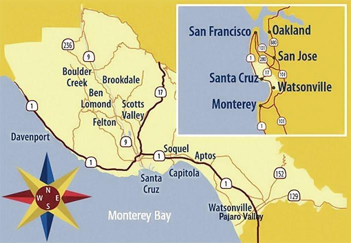 Map of Santa Cruz County