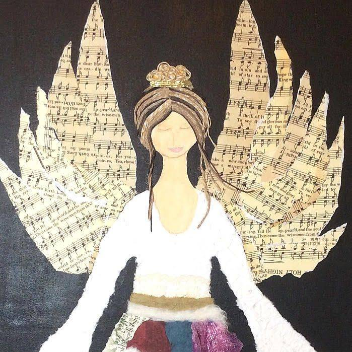 Christmas Angel.  Art And Soul By The Lake.  Barbara Polc Artist. Collage Art. Fiber Art. Collage On Canvas. Angel Art. Angel Collage. Paper Art. Inspirational Art. Angels