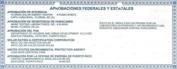 Los calentadores solares Blue Forest tienen certificado de resistencia contra huracanes.
