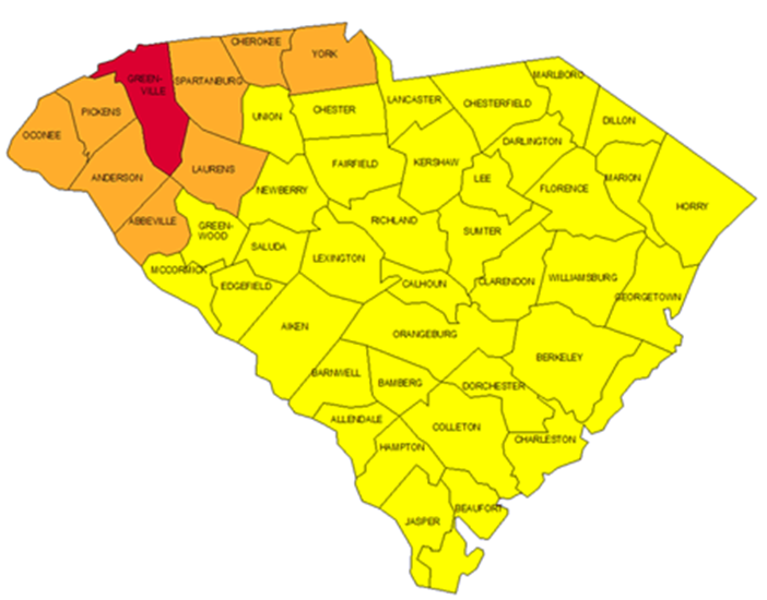 EPA Radon Map of SC. Where higher levels of Radon are commonly found in SC.