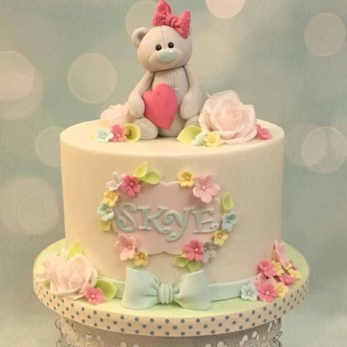 Teddy Heart Love Flowers Bow Cake Pretty Pastel