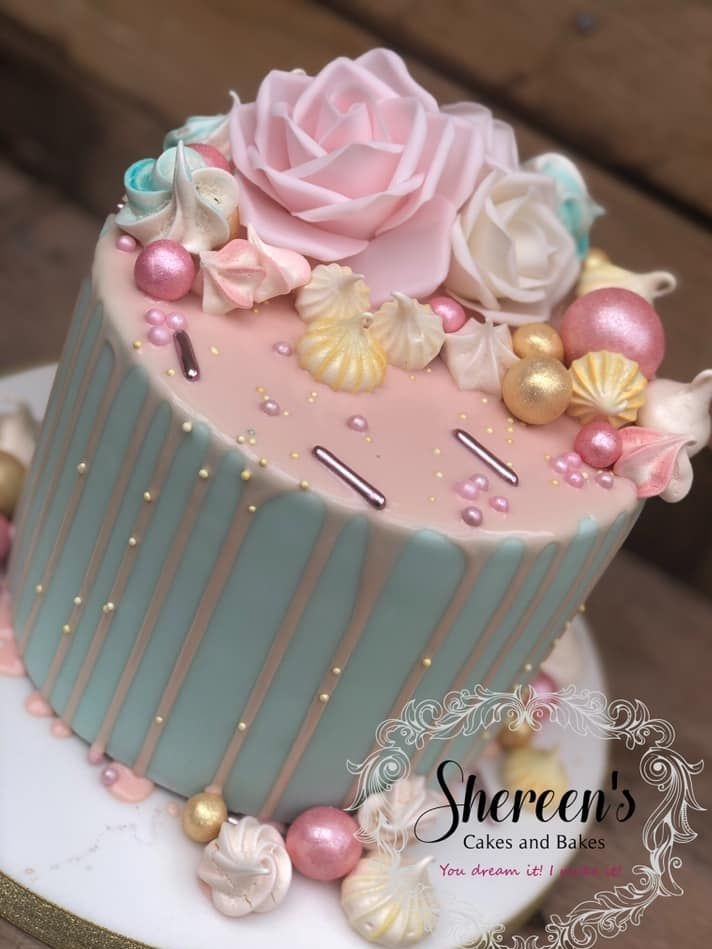 pretty pink birthday cake rose pink blue meringues
