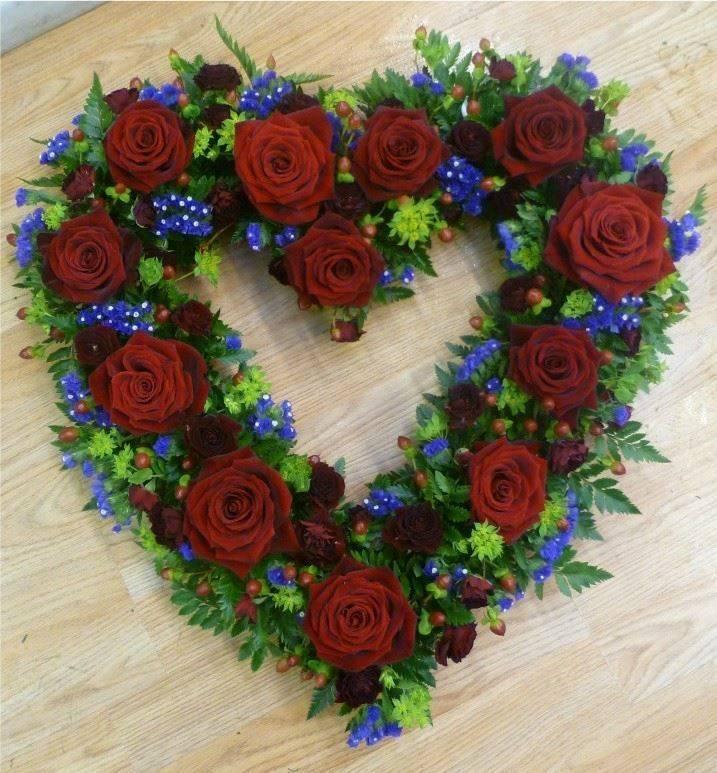 Open heart rose flower funeral tribute