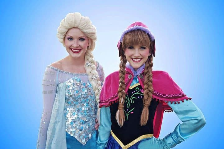 Frozen characters Elsa and Anna for kids parties in San Antonio