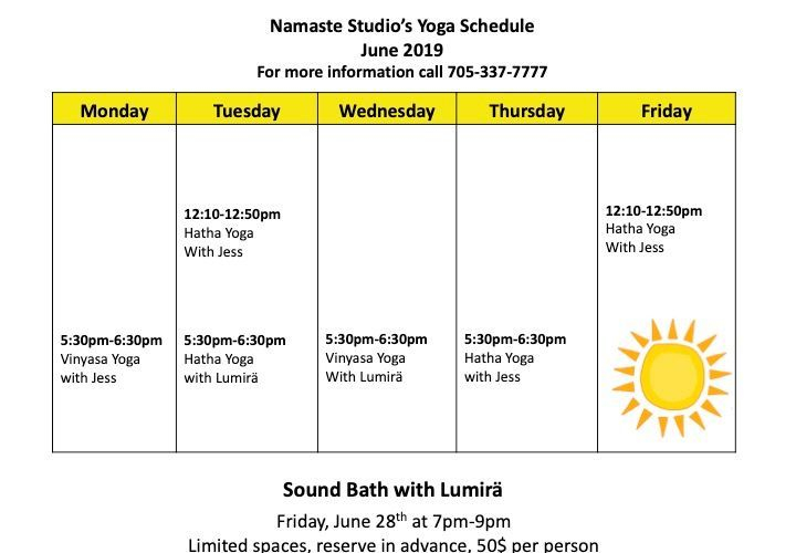Yoga Schedule for June at Namaste Studio in Kapuskasing