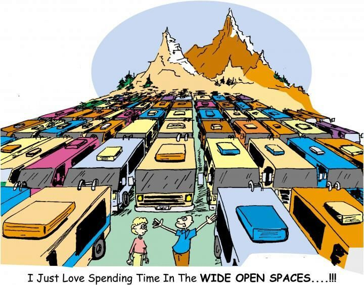 RV Park, crowded, wide open spaces, sites, mountains