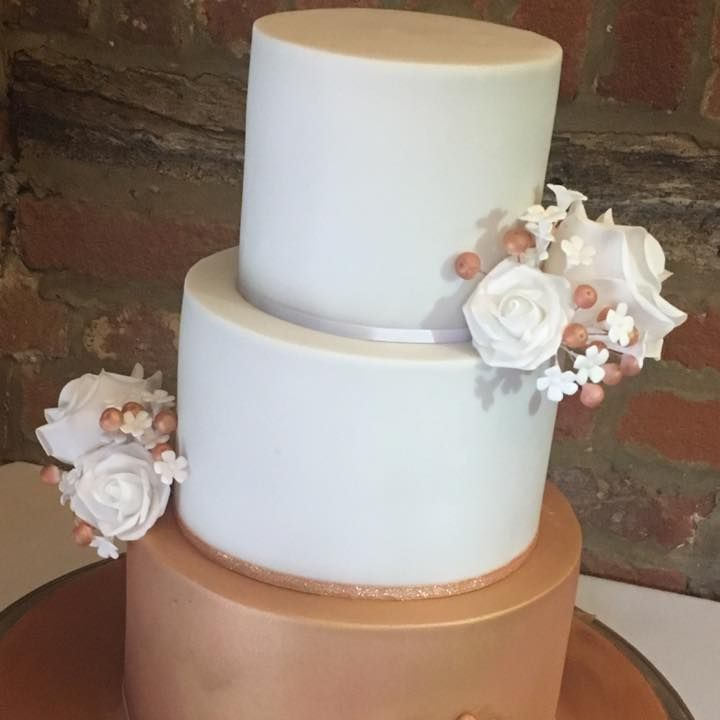White Rose Gold Wedding Cake Bronze