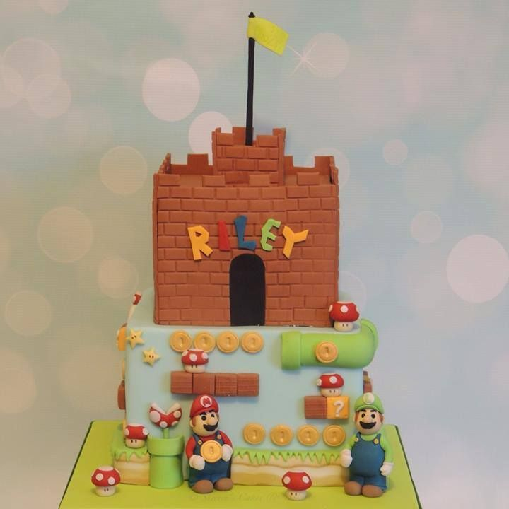 Super Mario Cake Castle Coins Luigi Stage Level Toadstools