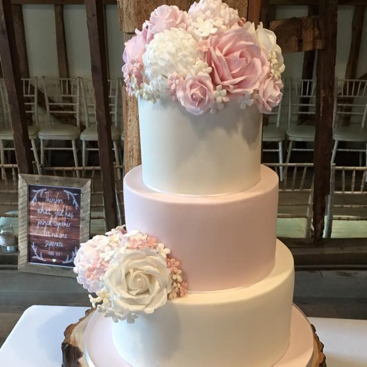 Pink White Peony Rose Bouquet Wedding Cake Rustic