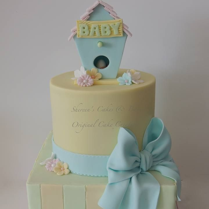 Baby Shower Christening Birthday Cake Bow Birdhouse Bird House Egg