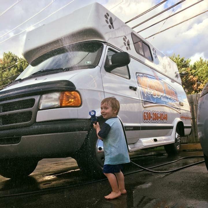 A kid and a van