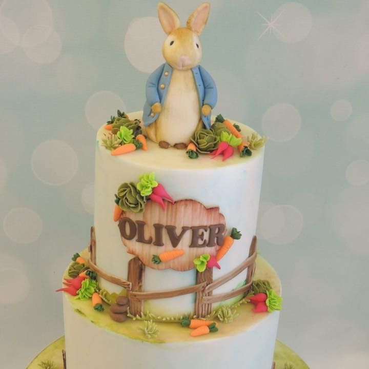 Birthday Celebration Novelty Peter Rabbit Beatrix Potter Cake Painted Vegetables Fence christening