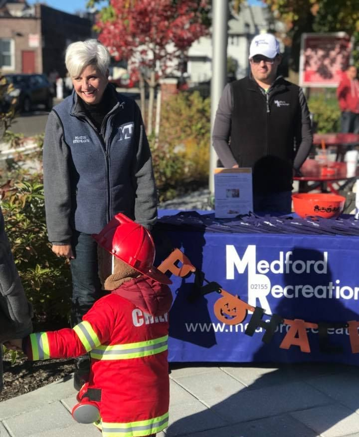 Mayor Muccini Burke at a local event with the Medford Recreation team