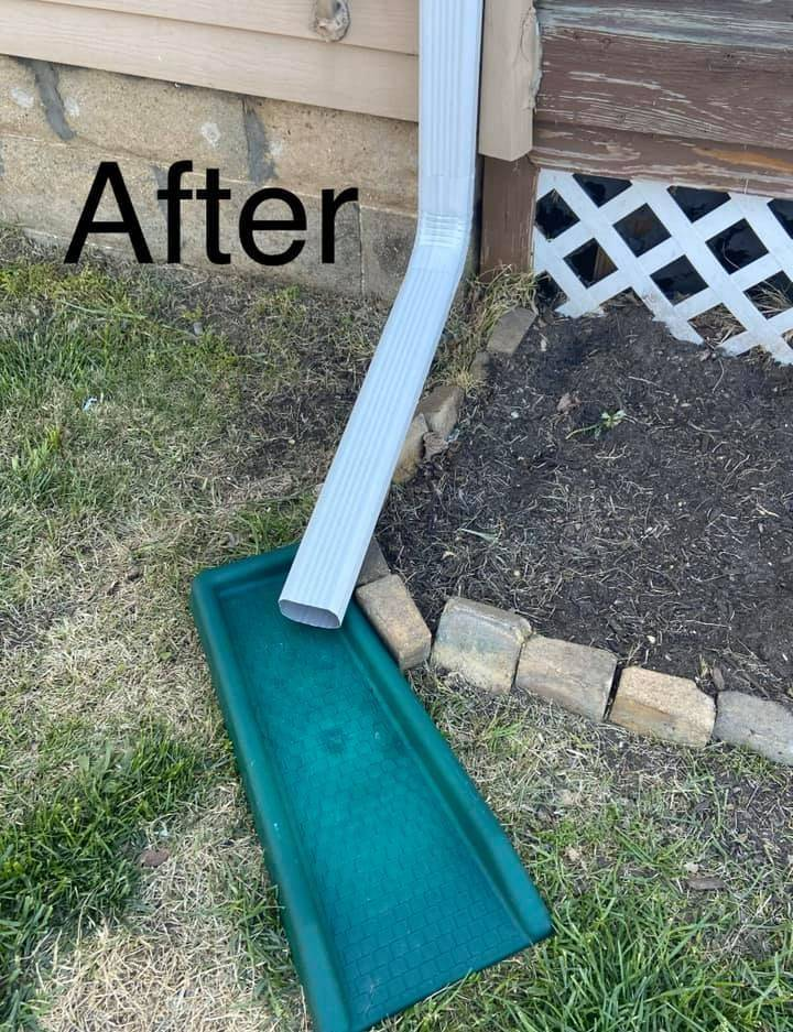 New down spout, local gutter repairs,