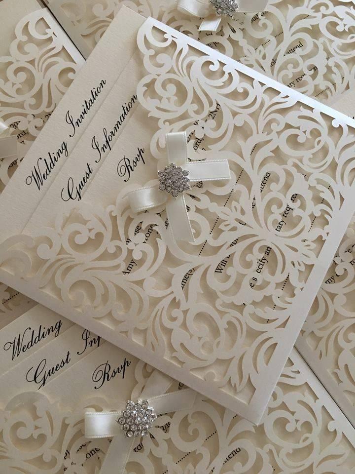 Textured wallet wedding invitations